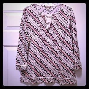 Lucky Brand 3/4 slv tribal top lace accent NWT M